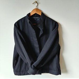 RALPH LAUREN Black Wool Bomber Coat
